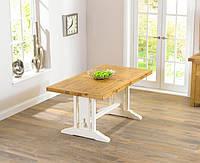 """Раскладной обеденный стол """"Мишель"""" из дуба с белой ножкой"""