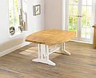 """Розкладний обідній стіл """"Мішель"""" з дуба з білою ніжкою, фото 2"""