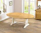 """Розкладний обідній стіл """"Мішель"""" з дуба з білою ніжкою, фото 3"""