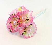 Искусственные цветы розовые с жемчужиной