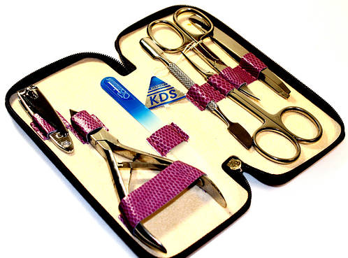Идеальный маникюрный набор с тиснением из 7 предметов KDS 4-7105 pink