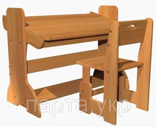 Буковая регулируемая парта 90 см,  стульчик растущий