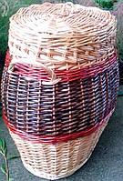 Бочка для белья овальная плетеная