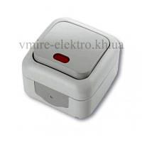 Выключатель с подсветкой влагозащищенный Viko (Вико) Palmiye (Палмия) серый