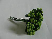 """""""Тычинки в сахаре""""пучок салатовых искусственных ягод на розетке листьев (1 набор - 12 веточек ягодок)"""