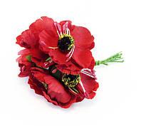 Искусственные цветы КРАСНЫЙ МАК В БУКЕТЕ
