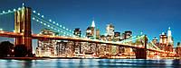 Стеклянный фартук для кухни - скинали Ночной город Бруклинский мост