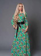 """Длинное платье с кожаным поясом - """"Лолита""""  код 356"""