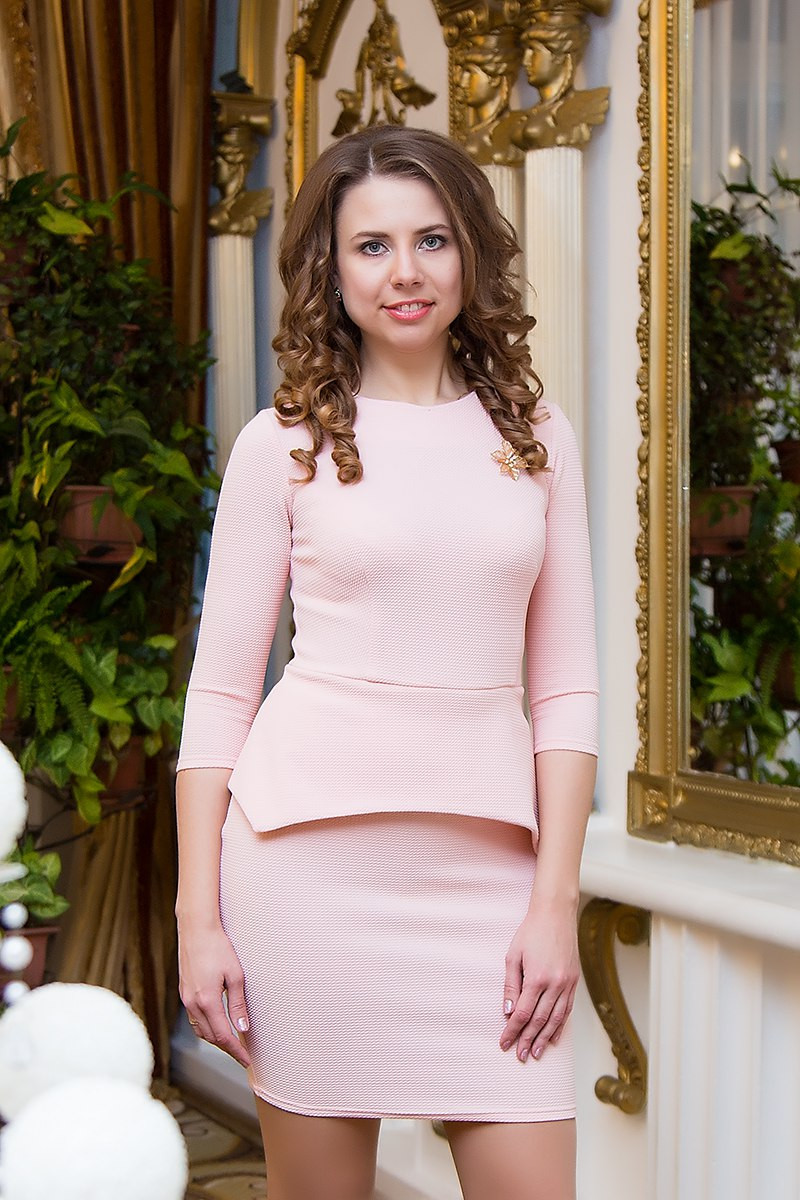 Платье женское с баской Jennifer ― Розовый