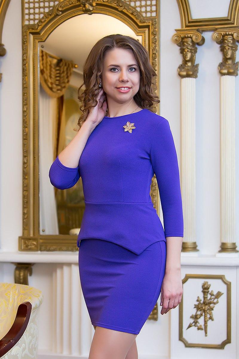 Платье женское с баской Jennifer ― Фиолетовый