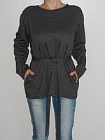 Трикотажная блузка большого размера 56-58 синяя 2380 Турция