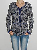 Тонкая трикотажная блузка больших размеров 54, 58 синяя VanGils Турция