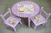 Стол и два стульчика Цветы W02-883
