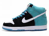 Женские высокие кроссовки Nike Dunk High (найк) голубые