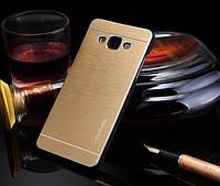 Металлический золотой чехол Motomo для Samsung Galaxy A3, фото 1