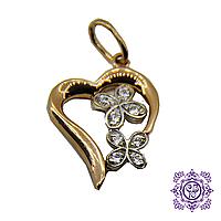 """Кулон с цирконием """"Ключ от сердца"""""""