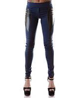 Леггинсы джинсовые с кожаными вставками