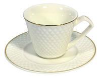 Чашка кофейная с блюдечком керамическая Кристал Interos AI012-AI013-G 90 мл