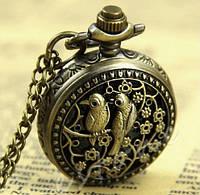 """Винтажные часы-подвеска """"Птицы"""" на цепи"""