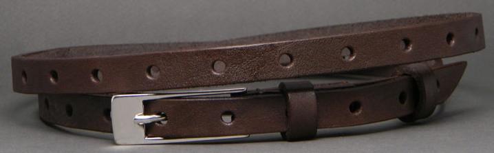 Кожаный женский ремень Svetlana Zubko 2F15211 коричневый 1.5 см