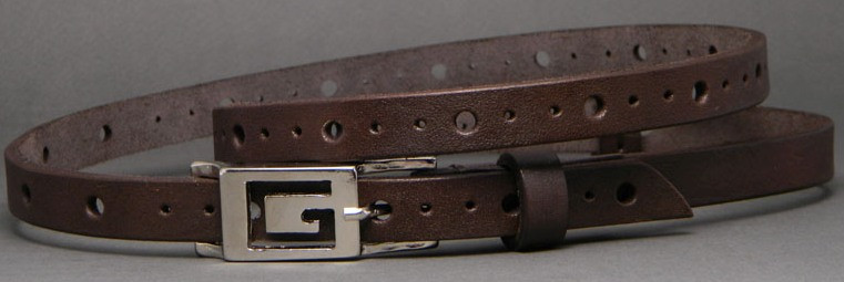 Кожаный женский ремень Svetlana Zubko 3F15224 коричневый 1.5 см