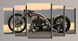 "Модульная картина на холсте из 5-ти частей ""Harley-Davidson"""