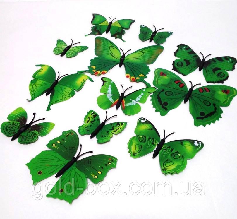Декоративные бабочки на магните и липучке 12шт зеленые