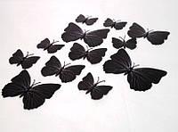 Декоративные бабочки на магните и липучке 12шт черные