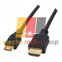 Кабель HDMI (папа) A-C mini (папа), 1.5m, черный, Пакет