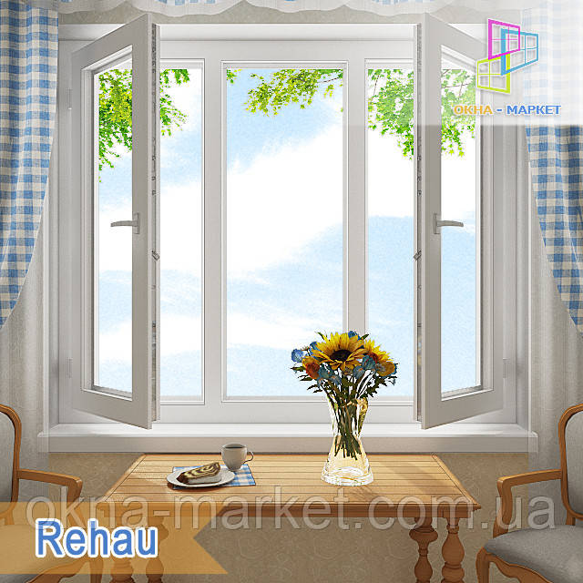 "Трехстворчатое окно с двумя створками rehau euro-design 60 /1800x1400/ ""Окна Маркет"""