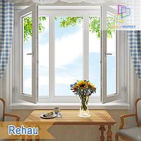 Трехстворчатое окно с двумя поворотно-откидными створками Rehau 60, Rehau 70 , фото 1