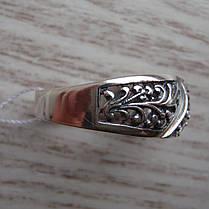 Серебряное кольцо с орнаментом и вставками из прозрачного фианита, фото 2