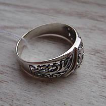 Серебряное кольцо с орнаментом и вставками из прозрачного фианита, фото 3