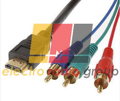 Кабель HDMI (папа)-3RCA (папа), 1.5m , черный, оплетка пакет