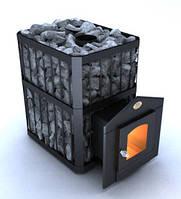 Дровяная каменка для бани Новослав Пруток ПКС-01П топка изнутри, дверка со стеклом