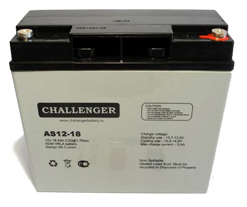 Аккумулятор AGM - 18 Ач, 12В гелевый Challenger AS12-18