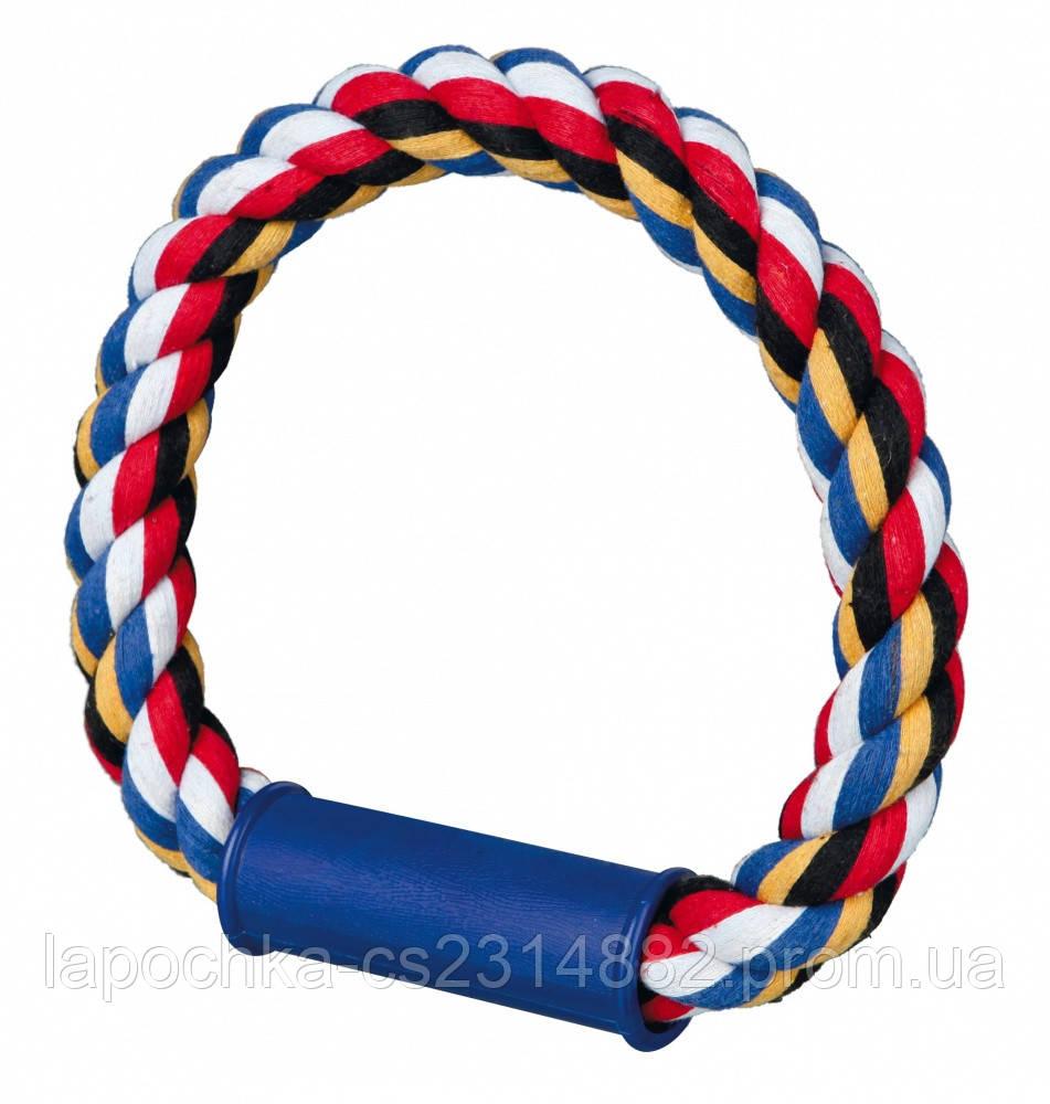 Игрушка для собак Trixie Кольцо плетёное с пластиковой ручкой, текстиль 30 см (цвета в ассортименте)