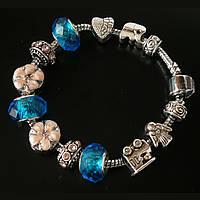 Женский серебряный браслет Pandora (Пандора) Angel с подвесками муранского стекла , фото 1