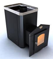 Дровяная каменка для бани Новослав Визуал ПКС В-01 топка изнутри парной, кожух черный, дверка со стеклом