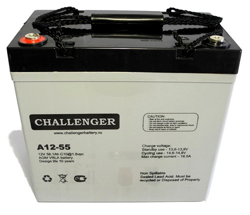 Аккумулятор AGM - 55 Ач, 12В гелевый Challenger A12-55