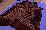 Блискуча, стрижена коричнева однотонна шкура з візерунком під зебру, фото 2
