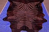Блискуча, стрижена коричнева однотонна шкура з візерунком під зебру, фото 4