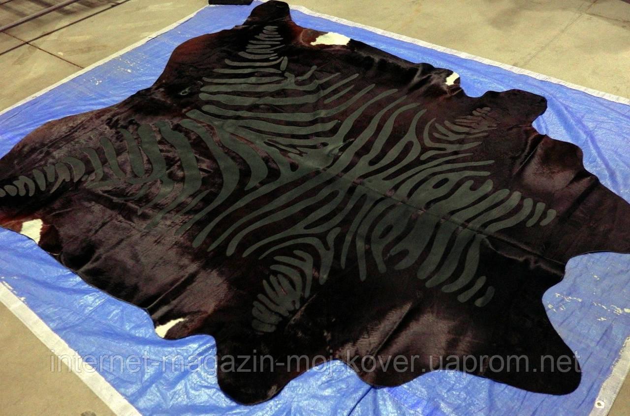 Черно шоколадная шкура коровы под зебру