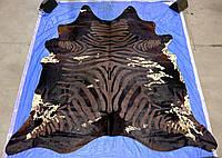 Черно шоколадно белая шкура коровы под зебру , фото 1