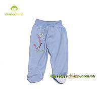 Модные ползунки на мальчика с жирафом  голубые, фото 1