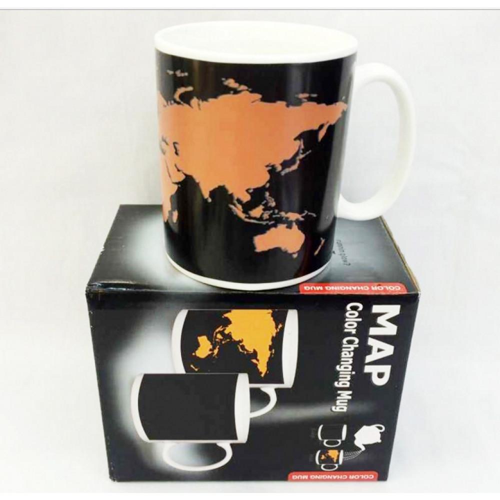 Чашка хамелеон Карта мира