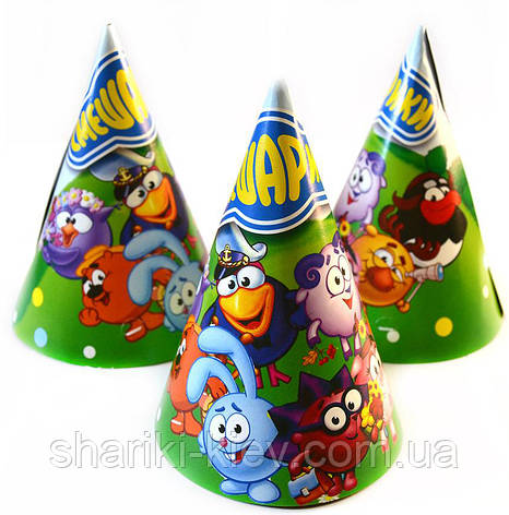Колпаки средние Смешарики 10 шт. бумажные на День рождения в стиле Смешарики, фото 2