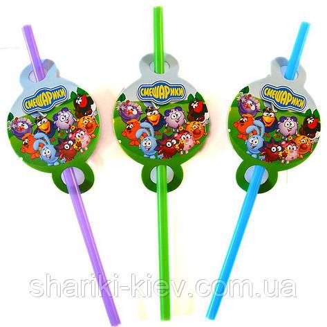 Трубочки Смешарики 8 шт. простые на День рождения в стиле Смешарики, фото 2