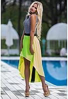 Женское Легкое летнее платье полоска и желтый