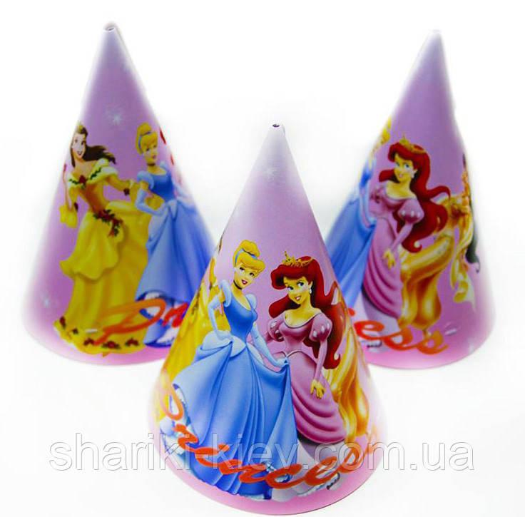 Колпаки средние Принцессы 10 шт. бумажные на День рождения в стиле Принцессы